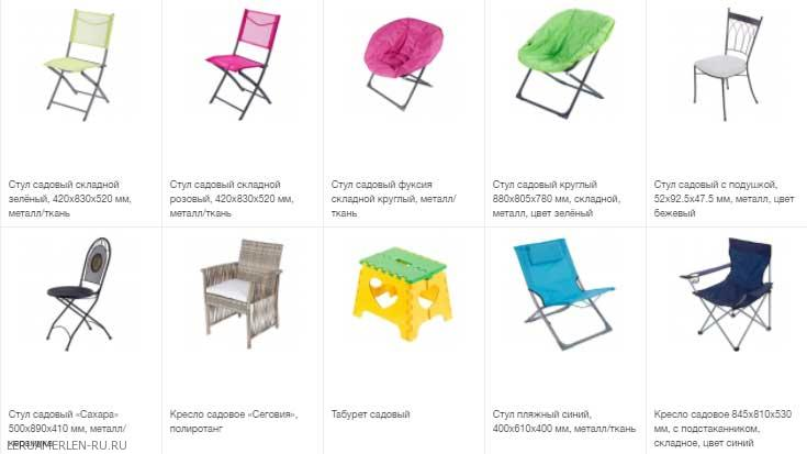 Каталог стульев в Леруа Мерлен